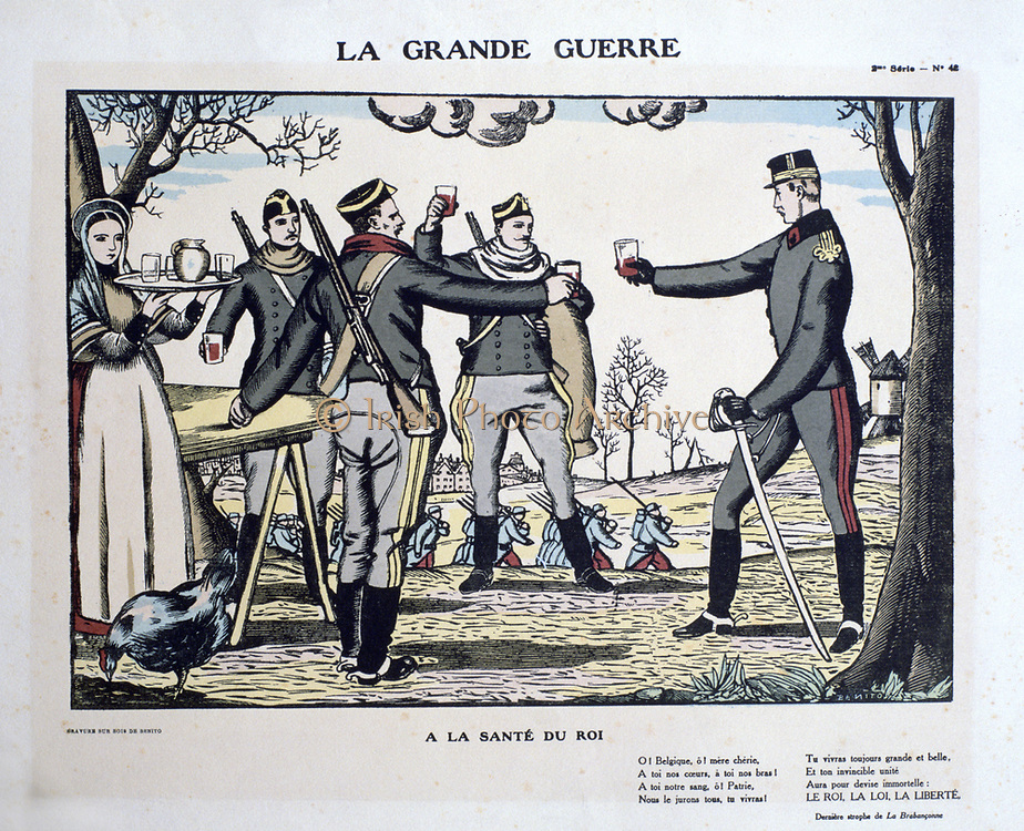 World War I 1914-1918:  Popular print showing  patriotic Belgians toasting their king. The King, Law, Liberty.