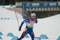 Simon Fourcade (FRA) competes in the World Cup Biathlon men's Sprint Competition on March 13, 2009