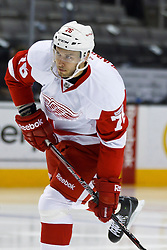 Nov 17, 2011; San Jose, CA, USA; Detroit Red Wings left wing Fabian Brunnstrom (76) warms up before the game against the San Jose Sharks at HP Pavilion. San Jose defeated Detroit 5-2. Mandatory Credit: Jason O. Watson-US PRESSWIRE