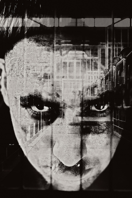 Montage of mans face and buildings