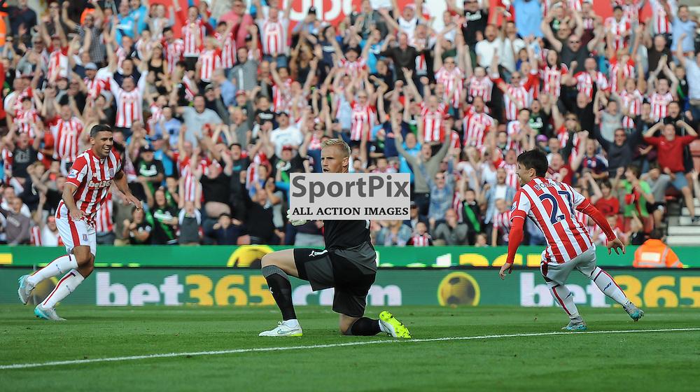 Kasper Schmeichel looks in vain for the offside flag after Bojan gives Stoke the lead (c) Simon Kimber | SportPix.org.uk