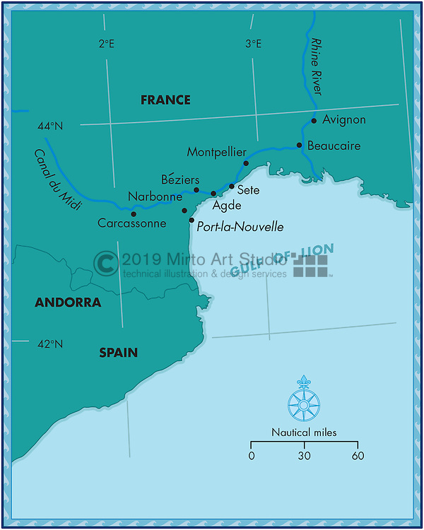 Vector map of the French Coast