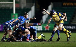 Andrew Kitchener of Worcester Warriors charges down a kick from Tavis Knoyle of Newport Gwent Dragons - Mandatory by-line: Robbie Stephenson/JMP - 16/12/2016 - RUGBY - Rodney Parade - Newport, Wales - Newport Gwent Dragons v Worcester Warriors - European Rugby Challenge Cup