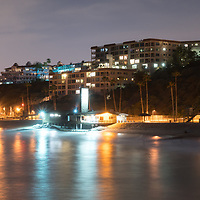 Panorama photo of San Clemente skyline at night. San Clemente California is a popular beach city in Orange County in the United States of America. Copyright ⓒ 2017 Paul Velgos with All Rights Reserved.