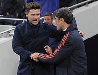 Football - 2019 / 2020 UEFA Champions League - Group B: Tottenham Hotspur vs. Bayern Munich<br /> <br /> Totenham Manager, Mauricio Pochettino greets Bayern Munich Manager, Niko Kovac, at The Tottenham Hotspur Stadium.<br /> <br /> COLORSPORT/ANDREW COWIE
