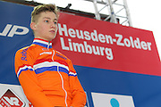 BELGIUM / ZOLDER / CYCLING / WIELRENNEN / CYCLISME / CYCLOCROSS / CYCLO-CROSS / VELDRIJDEN / WERELDBEKER / WORLD CUP / COUPE DU MONDE / U23 / PODIUM / CELEBRATION / HULDIGING / MATHIEU VAN DER POEL (NED) /