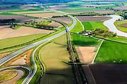 Nederland, Zeeland, Terneuzen, 09-05-2013; Zeeuws-Vlaanderen, Terneuzen. Westerscheldetunnelweg, N62, verbindt de zuidelijk ingang van de Westerscheldetunnel met het landelijke wegennet.<br /> Landscape near Terneuzen (Zeeuws-Vlaanderen), the roadway to the tunnel in the Westerschelde between the agricultural fields.<br /> luchtfoto (toeslag op standard tarieven);<br /> aerial photo (additional fee required);<br /> copyright foto/photo Siebe Swart.
