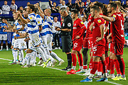 Queens Park Rangers players celebrate after winning the penalty shoot-out during the EFL Cup match between Queens Park Rangers and Bristol City at the Kiyan Prince Foundation Stadium, London, England on 13 August 2019.