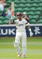 Peter Trego celebrates his century off 131 balls, 12 fours and 2 sixes. - Photo mandatory by-line: Alex Davidson/JMP - Mobile: 07966 386802 - 22/08/15 - SPORT - CRICKET - LV County Championship Division One - Day Two - Somerset v Worcestershire - The County Ground, Taunton, England.