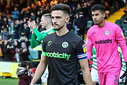 Forest Green Rovers Liam Shephard(2) leads the team out during the EFL Sky Bet League 2 match between Yeovil Town and Forest Green Rovers at Huish Park, Yeovil, England on 8 December 2018.