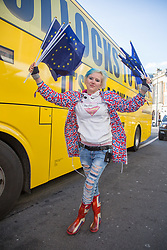 "@Licensed to London News Pictures 12/12/2018. Maidstone, Kent.  Campaigner, Madaleina Kay poses outside the yellow anti-Brexit bus today in Maidstone. The official anti-Brexit tour bus branded with the words ""Bollocks To Brexit"" arrives outside Jubilee Square in Maidstone today. Campaigners for the 2nd referendum are on a nationwide tour across the UK, Belgium and Ireland promoting public debate the benefits of remaining in the EU.Photo credit: Manu Palomeque/LNP"