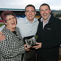 St Johnstone Player of the Year Awards...04.05.13<br /> David Robertson won the Highland Saints Supporters Club Magic Moment Award, presented by Rhoda MacKay and Iain Eisner.<br /> Picture by Graeme Hart.<br /> Copyright Perthshire Picture Agency<br /> Tel: 01738 623350  Mobile: 07990 594431