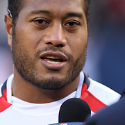 Post game, NBC TV USA Eagle interviewed Andrew Suniula, Nuuuli, American Samoa born and raised til 8 years old.  Suniula was a solid unrelenting standout versus the All Blacks.  The legendary New Zealand All Blacks defeated the USA Eagles 74-6 at Soldier Field, Chicago, Illinois, USA.  Photo by Barry Markowitz, 11/1/14, 3pm