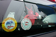 April 27, 2011 - A stuffed lobster hangs in the back window of the truck of lobsterman Dave Casoni in Sandwich, MA.