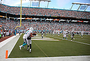 Miami Dolphins wide receiver Brian Hartline (82) tries to catch an incomplete pass in the corner of the end zone while covered by New England Patriots cornerback Logan Ryan (26) during the NFL week 1 regular season football game against the New England Patriots on Sunday, Sept. 7, 2014 in Miami Gardens, Fla. The Dolphins won the game 33-20. ©Paul Anthony Spinelli