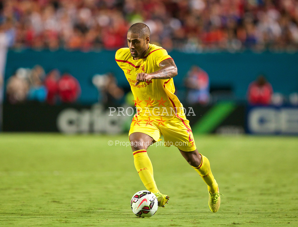 MIAMI, USA - Monday, August 4, 2014: Liverpool's Glen Johnson in action against Manchester United during the International Champions Cup Final match at the SunLife Stadium on day fifteen of the club's USA Tour. (Pic by David Rawcliffe/Propaganda)