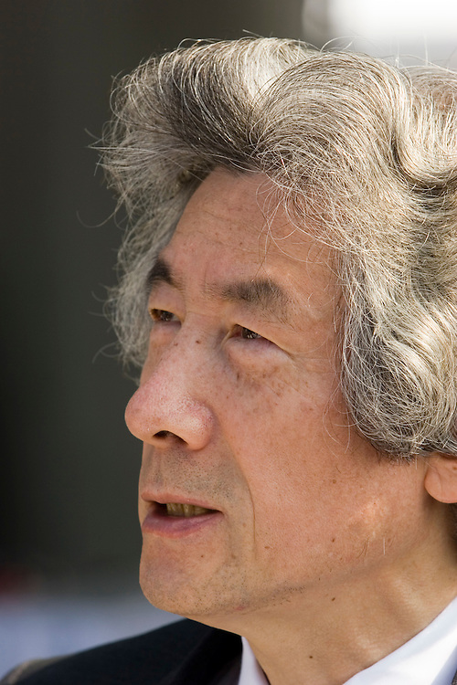 Japanese Prime Minister Junichiro Koizumi Speaks to journalist after Hiroshima Service remembering the  Atomic Bomb Attacts of wwII