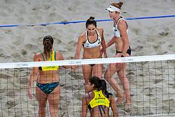 06-01-2019 NED: Dela Beach Open, Den Haag<br /> Brazil Ana Patricia Silva Ramos #1 BRA/ Rebecca Cavalcanti Barbosa Silva #2 BRA win the bronze medal. Kelly Claes #1 USA/ Sarah Sponcil #2 USA