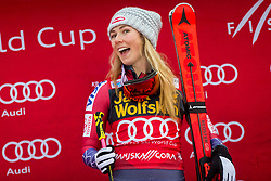 "Winner Mikaela Shiffrin (USA) during flower ceremony after the FIS Alpine Ski World Cup 2017/18 5th Ladies' Giant Slalom race named ""Golden Fox 2018"", on January 6, 2018 in Podkoren, Kranjska Gora, Slovenia. Photo by Ziga Zupan / Sportida"