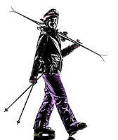one  woman skier walking in silhouette on white background
