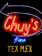 The neon sign of Chuy's restaurant in Austin Texas,  famous for its Tex-Mex Mexican food cuisine, March 8, 2008.