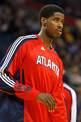 February 25, 2011; Oakland, CA, USA;  Atlanta Hawks small forward Marvin Williams (24) warms up before the game against the Golden State Warriors at Oracle Arena. Atlanta defeated Golden State 95-79.