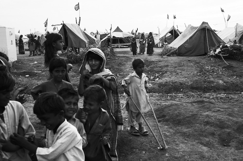 A temporary camp at Digri Bypass in Mirpur Khas district, Sindh, Pakistan on November, 2011. In August 2011, Heavy monsoon rains triggered flooding in lower parts of Sindh and northern parts of Punjab