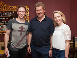 © Licensed to London News Pictures. 29/06/2015.  London, UK. L-R: Edmund Wiseman (Stephen Wraysford), Sebastian Faulks and Emily Bowker (Isabelle Azaire) after the performance. Author Sebastian Faulks joins the Birdsong cast as he takes a role in the play at Richmond Theatre. Birdsong, adapted from the Sebastian Faulks novel by Rachel Wagstaff, is performed at Richmond Theatre until 4 July 2015 which finishes the UK tour. Photo credit: Bettina Strenske/LNP