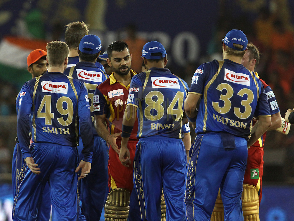 Royal Challengers Bangalore captain Virat Kohli shake hands after winning the match 22 of the Pepsi IPL 2015 (Indian Premier League) between The Rajasthan Royals and The Royal Challengers Bangalore held at the Sardar Patel Stadium in Ahmedabad , India on the 24th April 2015.<br /> <br /> Photo by:  Vipin Pawar / SPORTZPICS / IPL