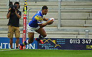 Ryan Hall of Leeds Rhinos dives over to score the 1st try against Wakefield Trinity during the Betfred Super League match at Emerald Headingley Stadium, Leeds<br /> Picture by Stephen Gaunt/Focus Images Ltd +447904 833202<br /> 13/07/2018
