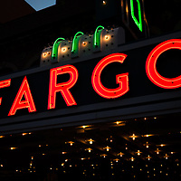 Photo of Fargo Theater neon sign at night in Fargo, North Dakota. The Fargo Theatre was built in 1926 and is on the National Register of Historic Places. The Fargo Theatre is currently a popular venue for films, movies, concerts, plays and other live events. Photo was taken in 2011.