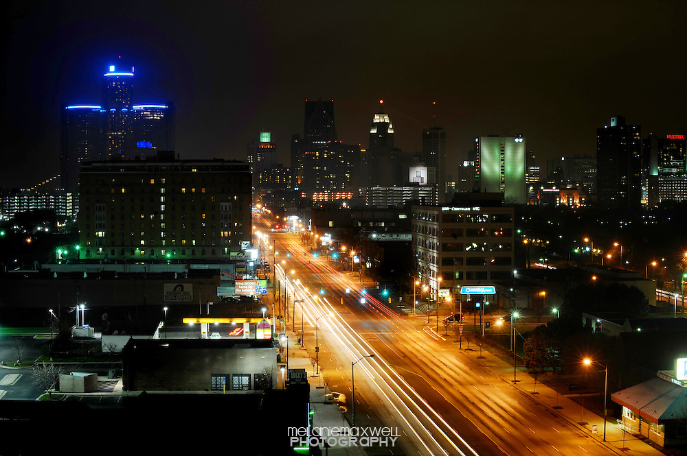 Detroit skyline, showing the GM building and Renaissance Center,  taken Thanksgiving evening, November 24, 2011.