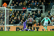 Jordon Ibe (#10) of Bournemouth fires a shot beyond Martin Dubravka (#12) of Newcastle United but narrowly over the bar during the Premier League match between Newcastle United and Bournemouth at St. James's Park, Newcastle, England on 10 November 2018.
