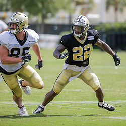 Jul 28, 2019; Metairie, LA, USA; New Orleans Saints defensive back Chauncey Gardner-Johnson (22) defends tight end Dan Arnold (85) during training camp at the Ochsner Sports Performance Center. Mandatory Credit: Derick E. Hingle-USA TODAY Sports