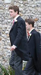 James Meade  the groom at arrives at his wedding toLady Marsham the daughter of Earl of Romney in Gayton, Norfolk, United Kingdom. Saturday, 14th September 2013. Picture by i-Images