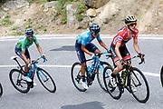 Simon Yates (GBR - Mitchelton - Scott) - Richard Carapaz (ECU - Movistar) - Alejandro Valverde (ESP - Movistar) during the 73th Edition of the 2018 Tour of Spain, Vuelta Espana 2018, 20th stage Andorra Escaldes Engordany - Coll de la Gallina 97.3 km on September 15, 2018 in Spain - Photo Luca Bettini / BettiniPhoto / ProSportsImages / DPPI