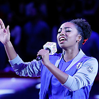 25 November 2015:  Los Angeles Clippers Spirit Dancer Candace sings the national anthem prior to the Utah Jazz 102-91 victory over the Los Angeles Clippers, at the Staples Center, Los Angeles, California, USA.