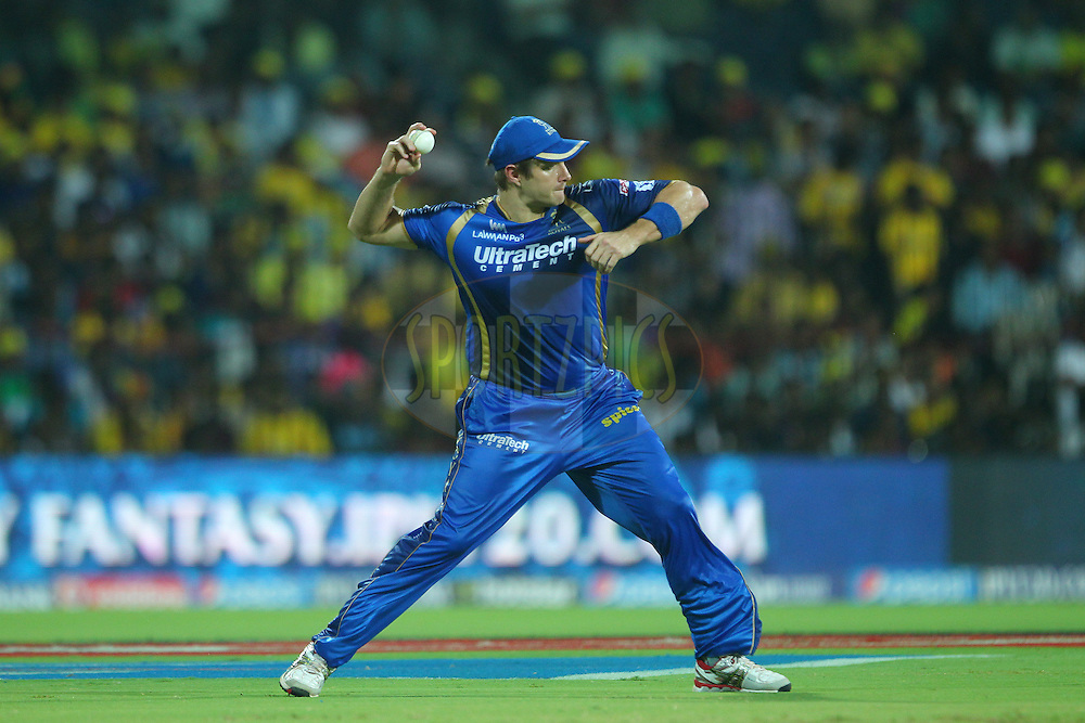 Shane Watson of the Rajasthan Royals  during match 47 of the Pepsi IPL 2015 (Indian Premier League) between The Chennai Superkings and The Rajasthan Royals held at the M. A. Chidambaram Stadium, Chennai Stadium in Chennai, India on the 10th May 2015.<br /> <br /> Photo by:  Ron Gaunt / SPORTZPICS / IPL