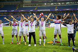 CARDIFF, WALES - Thursday, June 1, 2017: Olympique Lyonnais players celebrate with the trophy after winning the UEFA Champions League following a penalty-shoot out victory during the UEFA Women's Champions League Final between Olympique Lyonnais and Paris Saint-Germain FC at the Cardiff City Stadium. Dzsenifer Marozsán, Pauline Bremer, Wendie Renard. (Pic by David Rawcliffe/Propaganda)