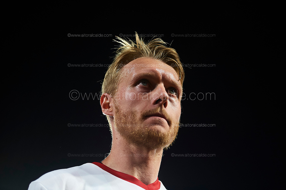 SEVILLE, SPAIN - AUGUST 10:  Simon Kjaen of Sevilla FC looks on during a Pre Season Friendly match between Sevilla FC and AS Roma at Estadio Ramon Sanchez Pizjuan on August 10, 2017 in Seville, Spain. (Photo by Aitor Alcalde/Getty Images)
