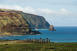 Chile, Easter Island: Ahu Tongariki, site where 50 sculptures or moai are placed on a platform or ahu.  This is the largest array of moai on Easter Island..Photo #: ch267-32699..Photo copyright Lee Foster www.fostertravel.com lee@fostertravel.com 510-549-2202