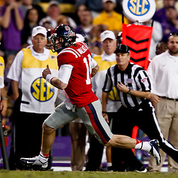 November 17, 2012; Baton Rouge, LA, USA  Ole Miss Rebels quarterback Bo Wallace (14) against the LSU Tigers during a game at Tiger Stadium. LSU defeated Ole Miss 41-35. Mandatory Credit: Derick E. Hingle-US PRESSWIRE