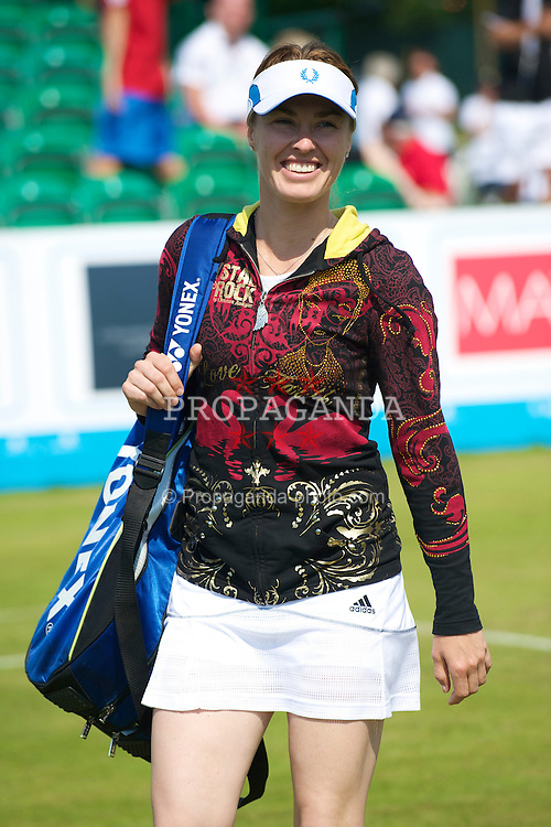LIVERPOOL, ENGLAND - Thursday, June 17, 2010: Martina Hingis (SUI) walks on court before the Ladies' Singles match on day two of the Liverpool International Tennis Tournament at Calderstones Park. (Pic by David Rawcliffe/Propaganda)