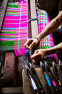 Thai woman weaving traditional clothes, Nghia Lo, Vietnam, Southeast Asia