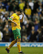 Leeds - Monday October 19th, 2009: Grant Holt of Norwich City reacts after Leeds score the winning goal during the Coca Cola League One match at Elland Road, Leeds. (Pic by Paul Thomas/Focus Images)..