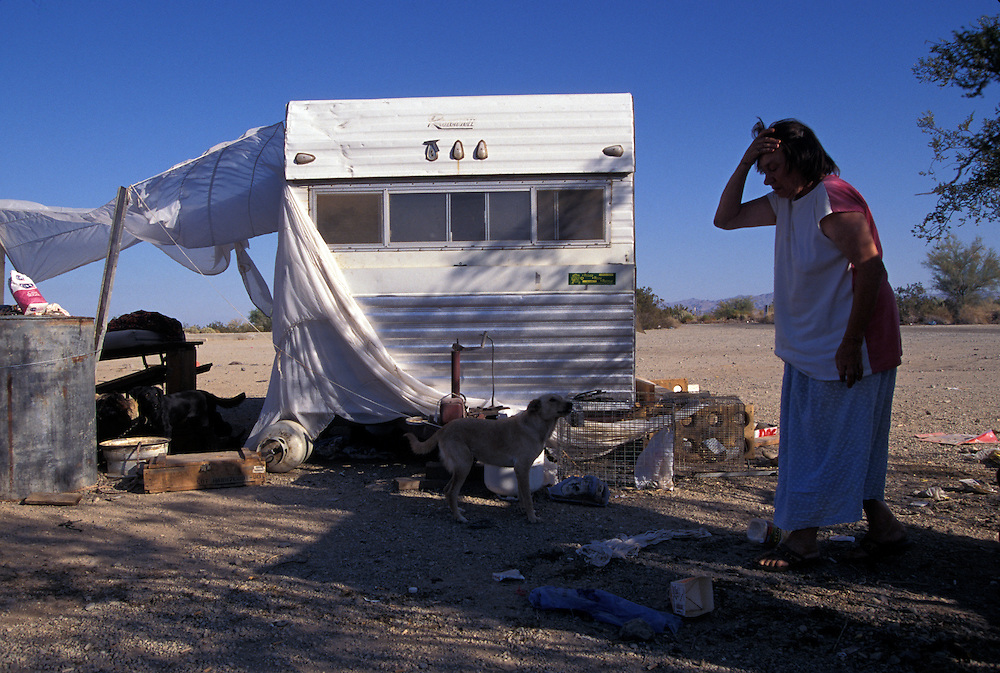 Anita Parman lives at Slab City, a deserted World War II training ground where concrete slabs that served as foundations are used by squatters, misfits, loners and others who want to remain on the fringe of society.