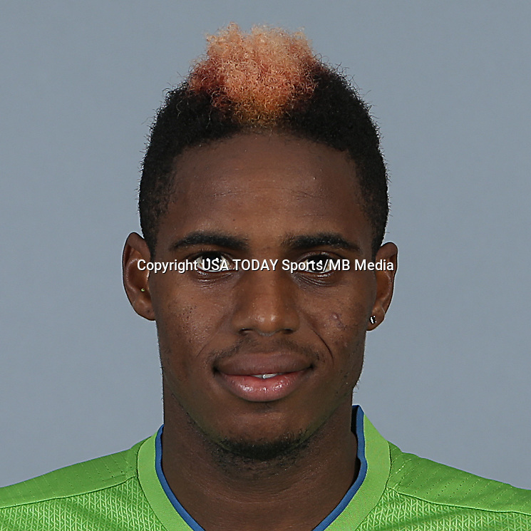 Feb 25, 2016; USA; Seattle Sounders FC player Joevin Jones poses for a photo. Mandatory Credit: Corky Trewin-USA TODAY Sports