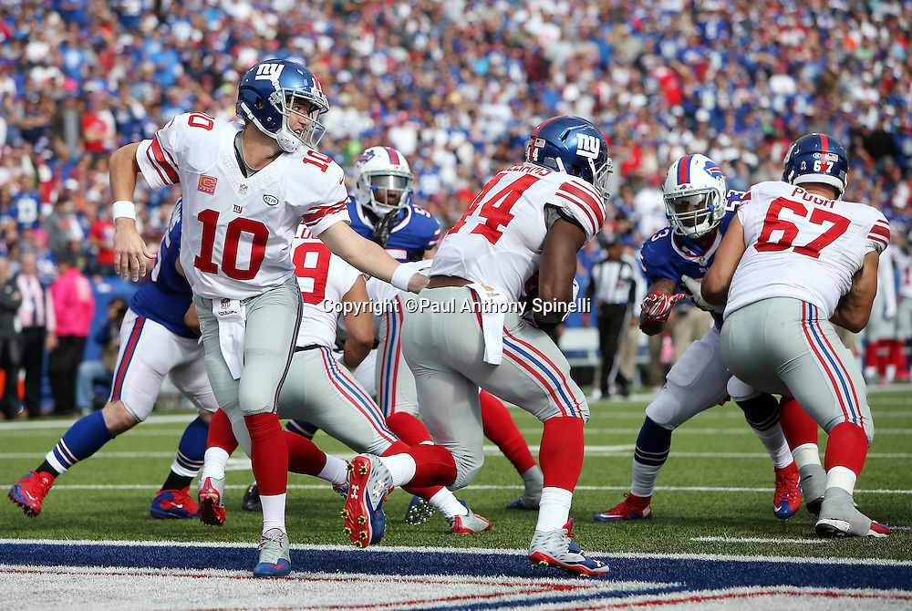 New York Giants quarterback Eli Manning (10) hands off the ball to New York Giants running back Andre Williams (44) from his own end zone during the 2015 NFL week 4 regular season football game against the Buffalo Bills on Sunday, Oct. 4, 2015 in Orchard Park, N.Y. The Giants won the game 24-10. (©Paul Anthony Spinelli)