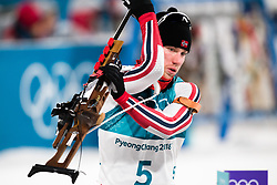February 12, 2018 - Pyeongchang, SOUTH KOREA - 180212  Erlend Bjøntegaard of Norway competes in the Men's Biathlon 12,5km Pursuit during day three of the 2018 Winter Olympics on February 12, 2018 in Pyeongchang..Photo: Jon Olav Nesvold / BILDBYRÃ…N / kod JE / 160157 (Credit Image: © Jon Olav Nesvold/Bildbyran via ZUMA Press)