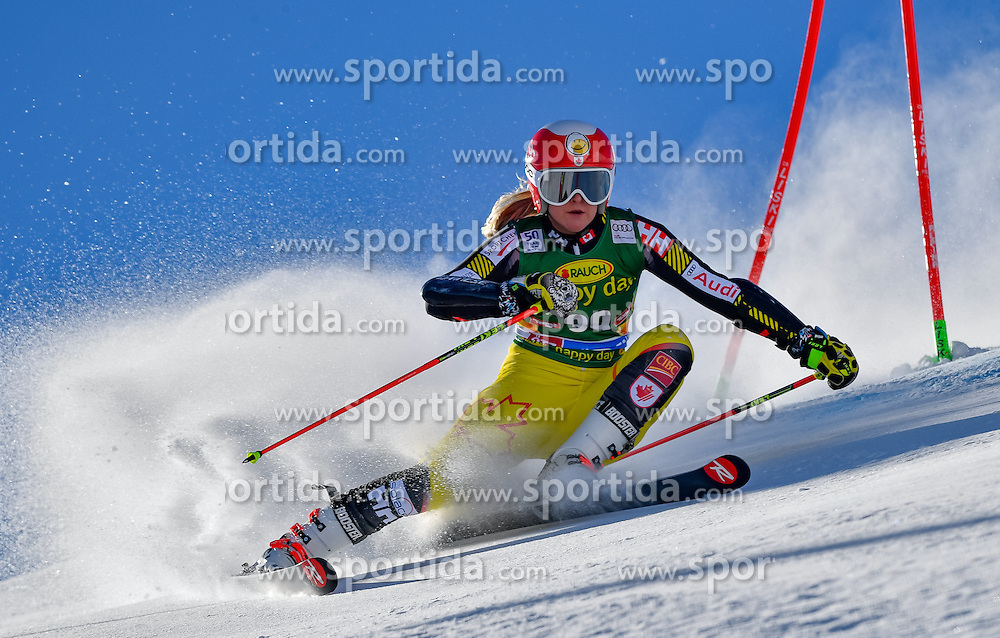 22.10.2016, Rettenbachferner, Soelden, AUT, FIS Weltcup Ski Alpin, Soelden, Riesenslalom, Damen, 1. Durchgang, im Bild Valerie Grenier (CAN) // Valerie Grenier of Canada in action during 1st run of ladies Giant Slalom of the FIS Ski Alpine Worldcup opening at the Rettenbachferner in Soelden, Austria on 2016/10/22. EXPA Pictures &copy; 2016, PhotoCredit: EXPA/ Nisse Schmid<br /> <br /> *****ATTENTION - OUT of SWE*****